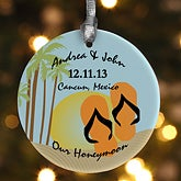 Personalized Christmas Ornaments - Honeymoon Paradise - 9245