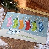 Personalized Christmas Stockings Doormat - 9249