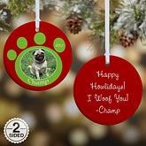 Personalized Photo Christmas Ornaments - Pet Memorial Pawprint - 9278