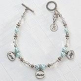 Personalized Charm Bracelet - Love, Aunt, Joy - 9296