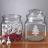 Personalized Christmas Candy Jar with Chocolate Kisses - 9312
