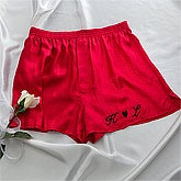 Embroidered Red Silk Boxer Shorts - 9343