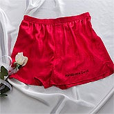 Custom Name Personalized Red Silk Boxer Shorts - 9344
