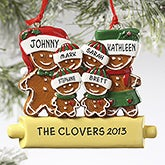Custom Gingerbread Family Christmas Ornament - 5 Names