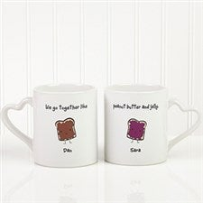 Romantic Personalized Coffee Mug Set - Like Peanut Butter & Jelly - 9395
