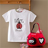 Personalized Girls Ladybug T-Shirt & Treat Bag - 9403