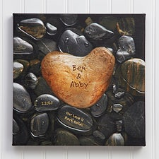 Personalized Canvas Wall Art - Romantic Heart Rock  - 9531