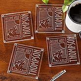 Personalized Corporate Engraved Logo Glass Coaster Set - 9561