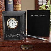 Business Logo Personalized Marble Desk Clock - 9575