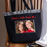 Embroidered Quilted Photo Tote Bag - 9704