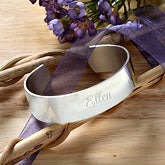 Personalized Silver Cuff Bracelet - Savannah Collection - 9715