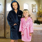 Embroidered Kids Velour Hooded Robe - 9758