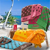 Oversized Personalized Beach Towels - Pink & Brown Polka Dots