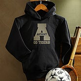 Black Personalized Mens Hooded Sweatshirts - Sports Team