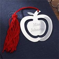Engraved Red Tassel Apple Bookmark - 9798