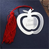 Engraved Red Tassel Apple Bookmark - 9798