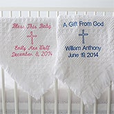 Personalized Baby Christening Blanket - Embroidered Cross - 9803