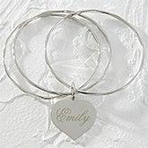 Personalized Silver Heart Bangle Bracelet - 9850