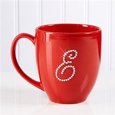 Personalized Red Bistro Coffee Mug With Rhinestone Monogram - 9874