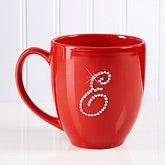 Personalized Red Bistro Coffee Mug With Rhinestone Monogram - 9874