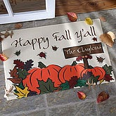 Personalized Autumn Leaves Welcome Door Mat - 9896